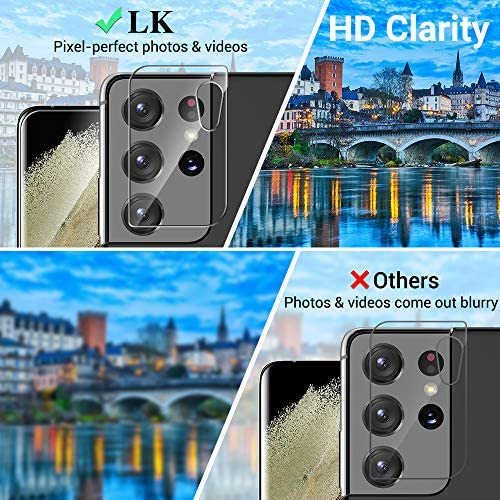 4 Pack LK 2 Pack Screen Protector & 2 Pack Tempered Glass Camera Lens Protector Compatible with Samsung Galaxy S21 Ultra, Positioning Tool, Fingerprint Support, Flexible TPU Film Model No. ZUSU