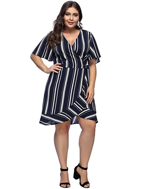 Women Plus Size Dress Polka Dot Print V-Neck Bell Sleeve Casual Wrap Midi Dresses with Tie Waist