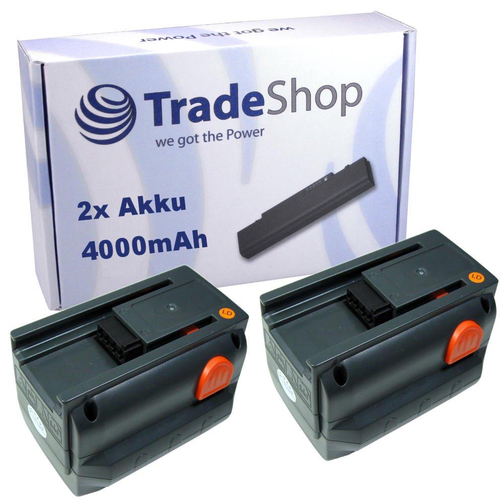 Angebot im Bundle: 2x Trade-Shop Premium Li-Ion Ersatz Akku 18V / 4000mAh für Gardena Rasentrimmer AccuCut 400 Li 8840-20, Turbotrimmer AccuCut 400 Li 8840, AccuCut 450 Li (8841), AccuCut 18-Li, AccuJet 9333-20 8865