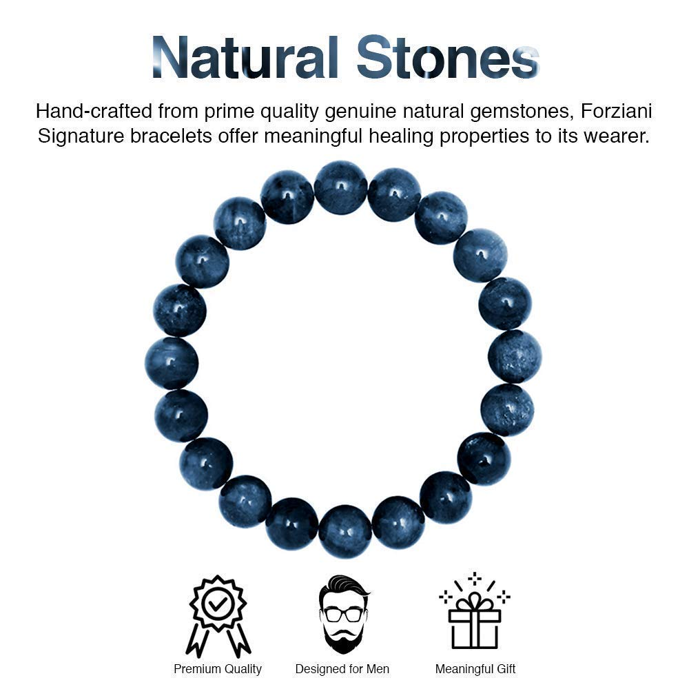 High Quality Stretch Navy Blue Gemstone Beads Mens Bracelet Size Medium Made in USA Gift Box Included Forziani 10mm Dumortierite Beaded Bracelet for Men Confidence and Strength
