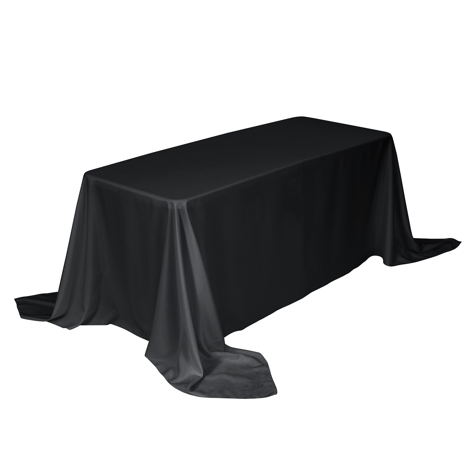 Remedios 90 x 156-inch Rectangle Polyester Tablecloth Table Cover - Wedding Restaurant Party Banquet Decoration, Black