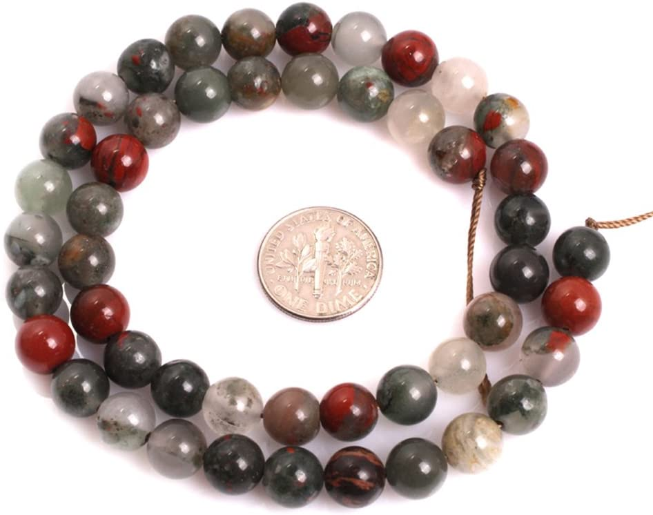 GEM-inside Natural Africa Bloodstone Gemstone Loose Beads 6mm Round Crystal Energy Stone Power Beads for Jewelry Making 15
