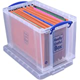 Really Useful Box, scatola da 24 L, trasparente, (incluse 10 cartelle sospese per documenti)
