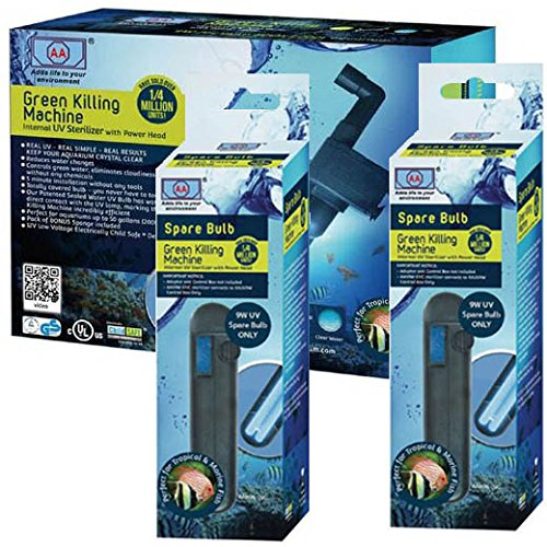 Green Killing Machine 9W Internal UV Sterilizer with Power Head & TWO 9W Replacement Bulbs Bundle