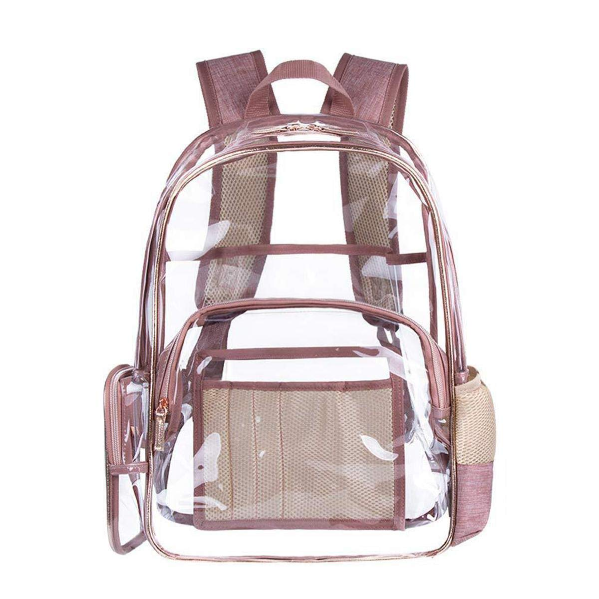 PVC Clear Backpack for Adults, Transparent Heavy Duty School Backpack/Outdoor Backpack Fit 15.6 Inch Laptop, Safety Travel Rucksack with Multi Pockets and Adjustable Wide Mesh Straps