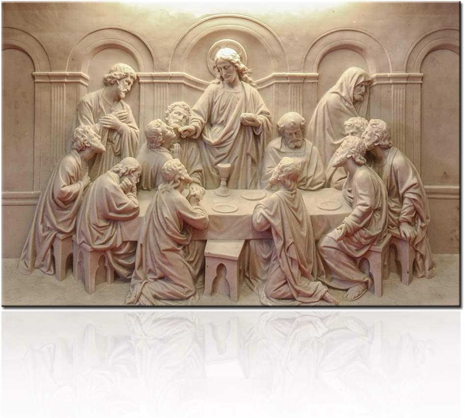 Living Room Decorations Lord Supper Picture The Last Supper Sculpture Style Paintings on Canvas 12 Apostles Wall Modern Artwork Home Decor Framed Gallery-wrapped Stretched Ready to Hang(16''x24'')