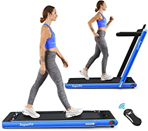 Goplus 2 in 1 Folding Treadmill, 2.25HP Under Desk Electric Treadmill, Installation-Free with Bluetooth Speaker, Remote Control and LED Display, Walking Jogging for Home Office Use