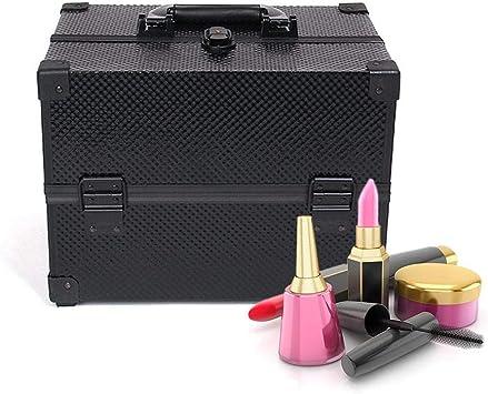 cherrysong Caja organizadora de cosméticos de Aluminio Grande Maquillaje, joyero, portátil, con Cierre, para Maquillaje, Maquillaje, Herramientas, Color Negro: Amazon.es: Hogar