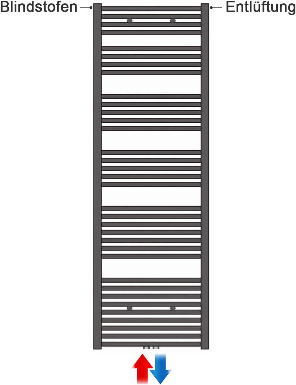 RAL 7016 50 x 115 cm, anthrazit Heizk/örper mit versetztem Mittelanschluss Design Badheizk/örper Paneel mit Anschluss links oder rechts