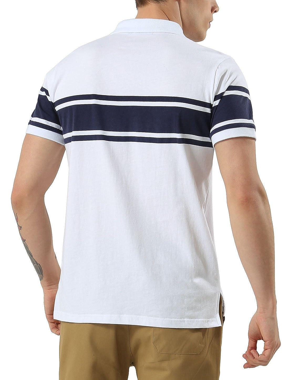 0a5e36e410bd2 Sourcingmap Allegra K Men Striped Print Side Slit Point Collar Short Sleeves  Polo Shirt  Amazon.co.uk  Clothing
