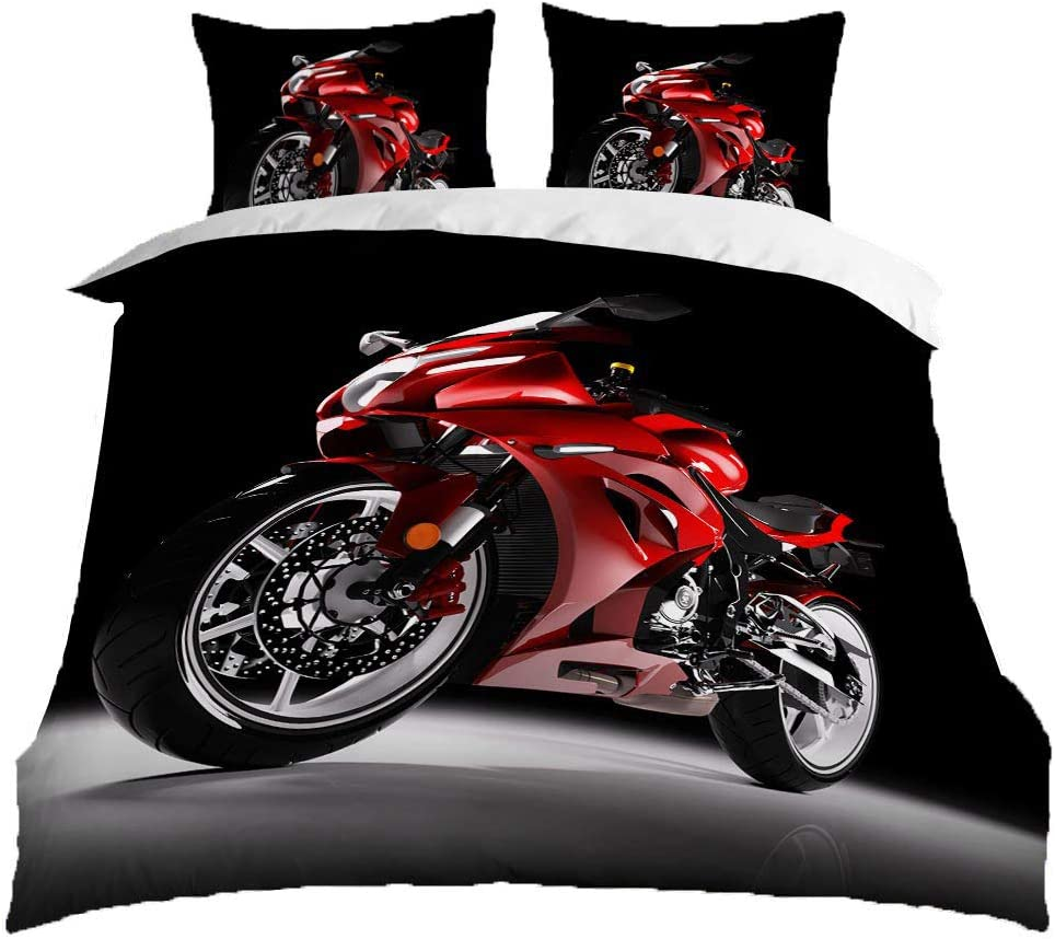 "HOSIMA Teen Boys Bedding Set Series Duvet Cover Set Outdoor Motorcycle Decor Comforter Cover Set with Zipper Ties Motor Racing Theme Ultra Soft Comforter (BHX73,Twin 70""x86"")"