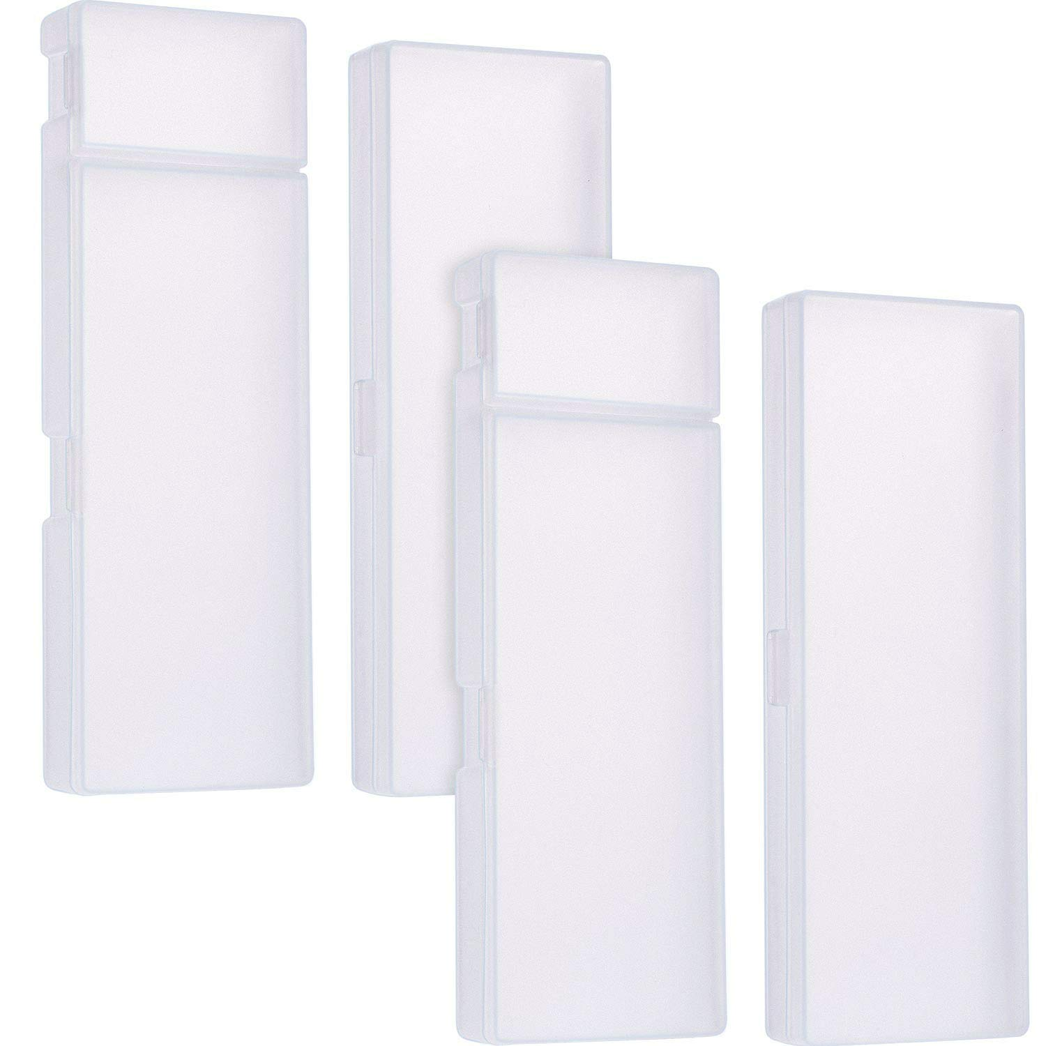 Leinuosen 4 Piece 2 Size Clear White Plastic Pencil Case Pen Stationery Storage Box, Divided Compartments with Separate Lids, Large and Medium