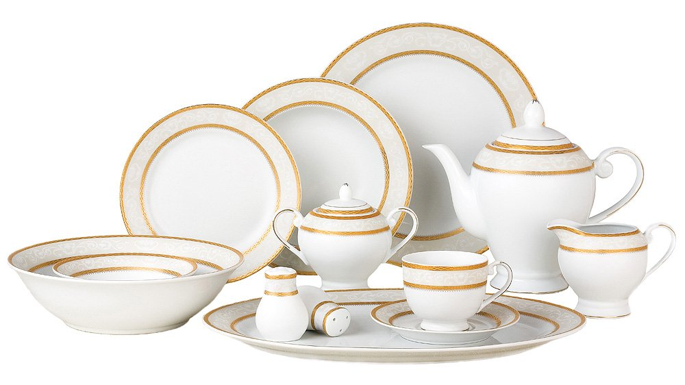 Amazon.com Lorenzo Amelia 57-Piece Dinnerware Set Service for 8 Kitchen u0026 Dining  sc 1 st  Amazon.com : white and gold dinnerware - pezcame.com