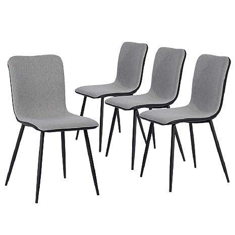Coavas Sedie da Cucina Set di 4 sedie da Pranzo in Tessuto, Cuscino in  Tessuto Grigio ventilato, Schienale in PU Lavabile Nero e Gambe in Metallo