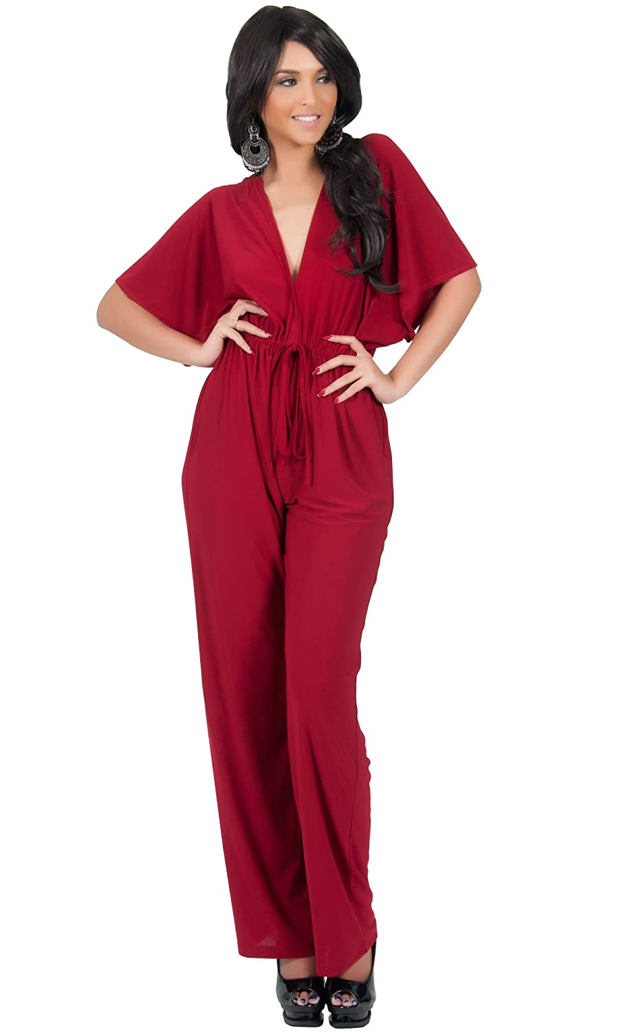 152754b8e52 KOH KOH Womens Short Kimono Sleeve One Piece Jumpsuit Cocktail ...