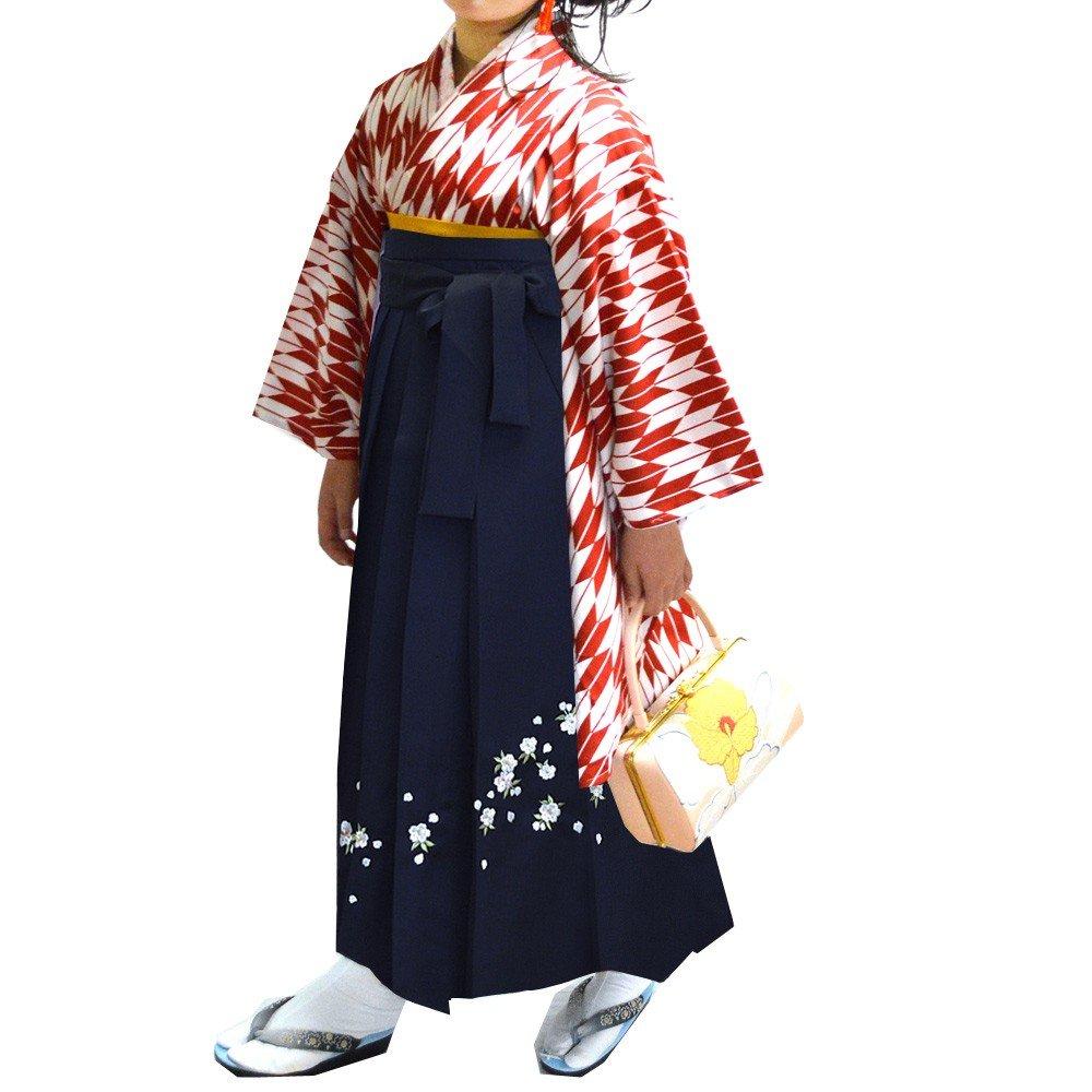 卒業式 袴セット 女性レディース二尺袖着物刺繍袴セット 5サイズ6色/ B00APG1BRK S(87cm)|ネイビー ネイビー S(87cm)