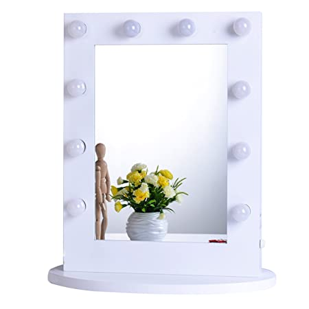 Chende Hollywood Makeup Vanity Mirror with Lights Bedroom Lighted Standing Mirror with Dimmer, LED Cosmetic Mirror with 10 Dimmable Bulbs, Wall Mounted Lighting Mirror White, 6550