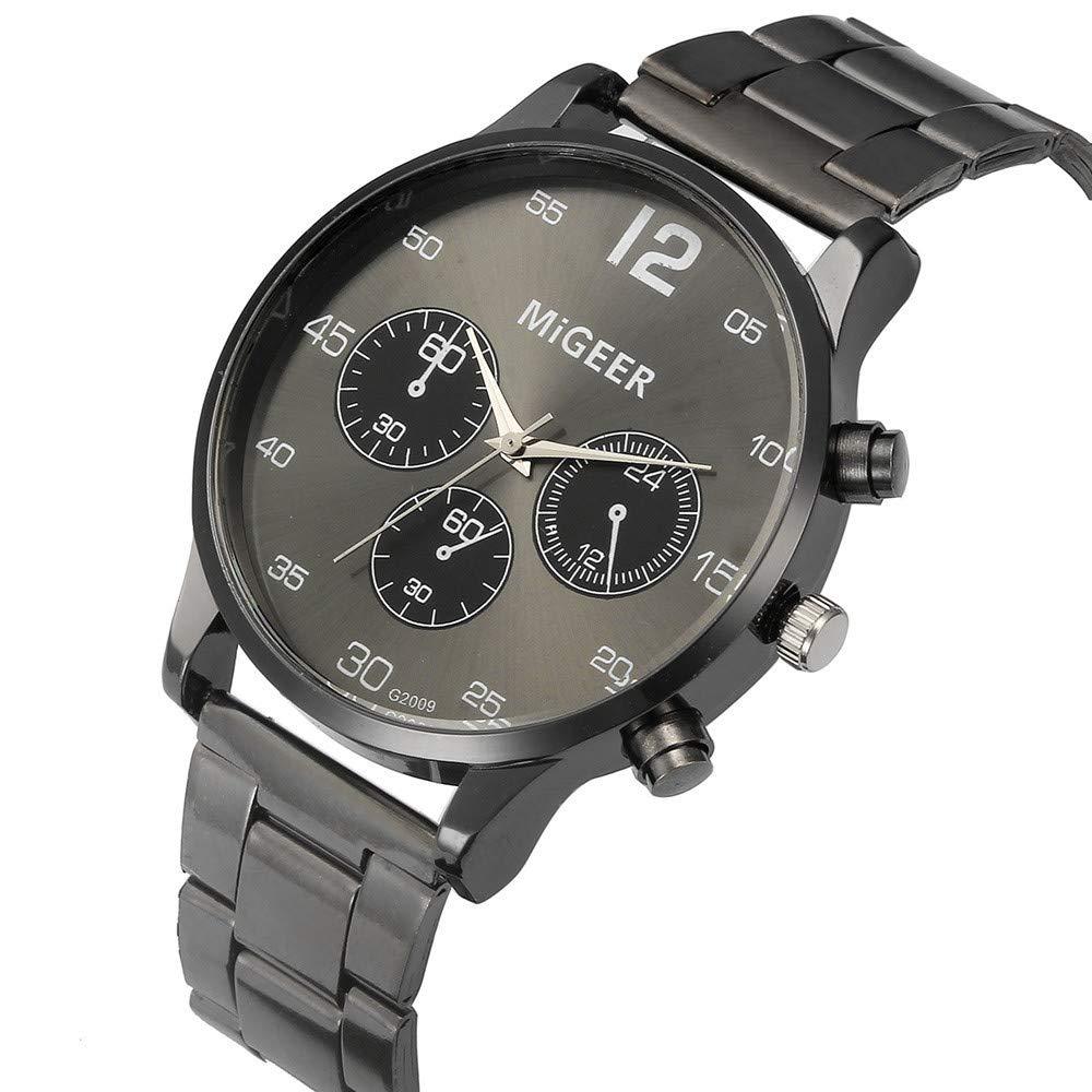JiaMeng Cuero Banda analógico Cuarzo Reloj de Pulsera de Cuarzo analógico de Acero Inoxidable cristalino de Hombre de Moda (Blanco): Amazon.es: Ropa y ...