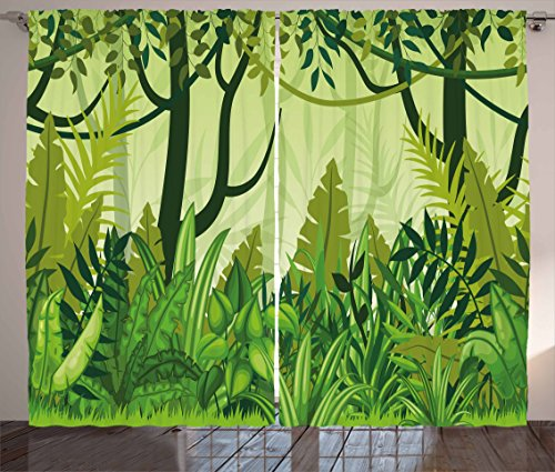 Ambesonne Plant Curtains, Cartoon Style Jungle Depiction Hand Drawn Digital Rainforest Leaves Bushes Trees, Living Room Bedroom Window Drapes 2 Panel Set, 108 W X 84 L Inches, Forest Green