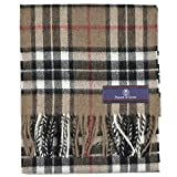 Prince of Scots Pure Merino Lambswool Tartan Scarf Camel Thompson,Camel,One Size