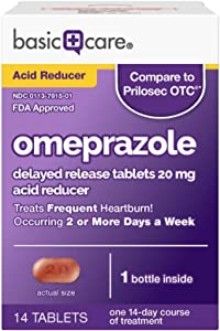 Amazon Basic Care Omeprazole Delayed Release Tablets 20 mg, Acid Reducer, treats frequent heartburn, 14 Count