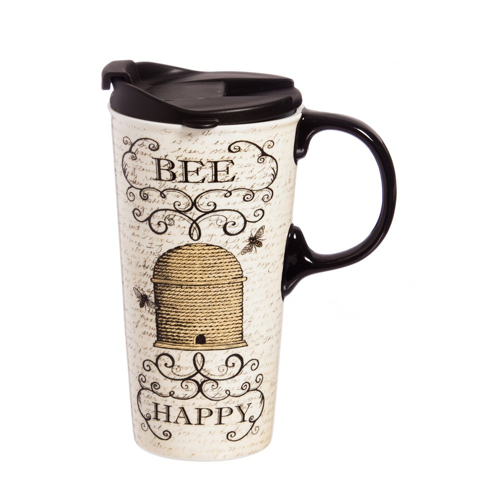 """Cypress Home Bee Happy 17 oz Boxed Ceramic Perfect Travel Coffee Mug or Tea Cup with Lid - 3""""W x 5.25''D x 7''H"""