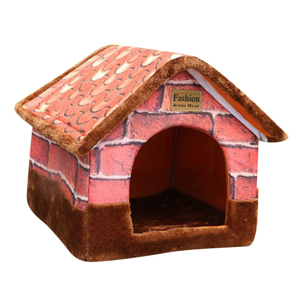 Brown SCimaybeauty Vintage Brick Portable Indoor Pet Bed Dog House Soft Warm and Comfortable Cat