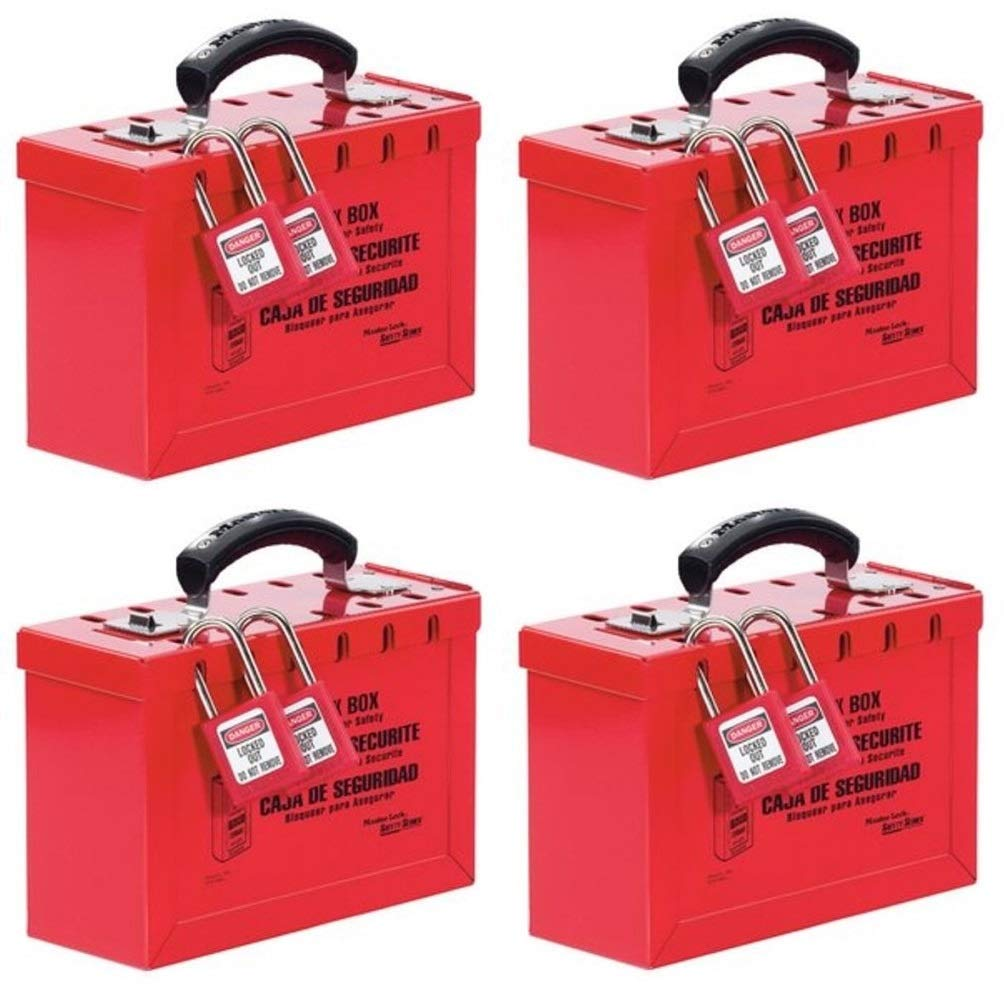 Master Lock Lockout Tagout Lock Box, Latch Tight Portable Group Lock Box, 498A (Pack of 3) by Master Lock