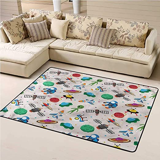 Amazon Com Indoor Outdoor Carpet Outer Space For Kids Yoga Living Room Home Decor Rugs Fantasy Adventure Art 4 X 6 Rectangle Kitchen Dining