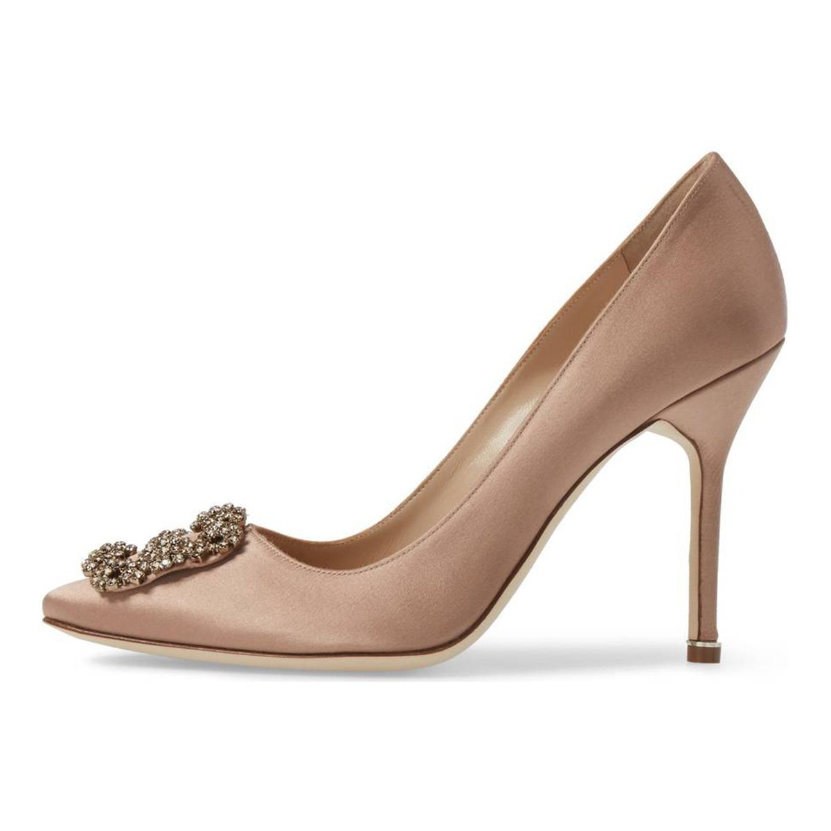 Women's AS011 Pointed Toe Diamonds Satin Wedding Party Evening Dress Stiletto Heel Shoes Rose Size 7.5 US