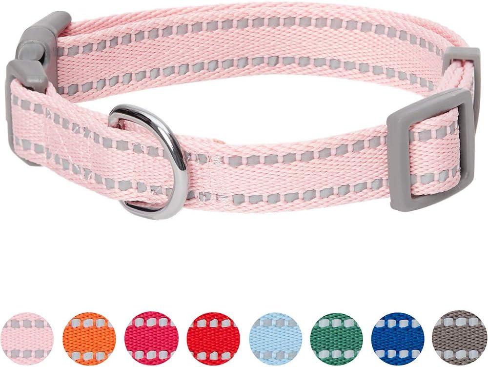 Umi. by Amazon - Pastel - Collar para perros M, cuello 37-50 cm, collares ajustables para perros (rosa bebé)
