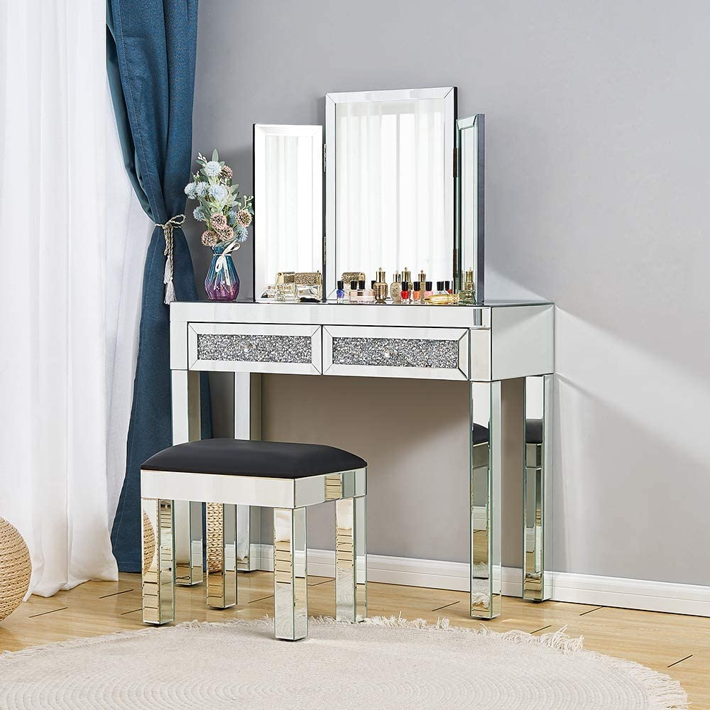Mirrored Dressing Table Set Furniture Glass With Drawer Console Bedroom  With Table Top Bevelled Mirror and Stool