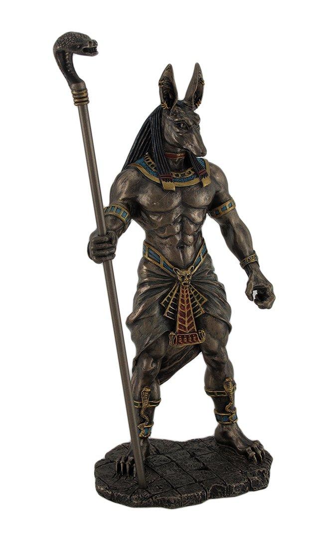 Veronese Design Anubis Holding Cobra Head Scepter Statue