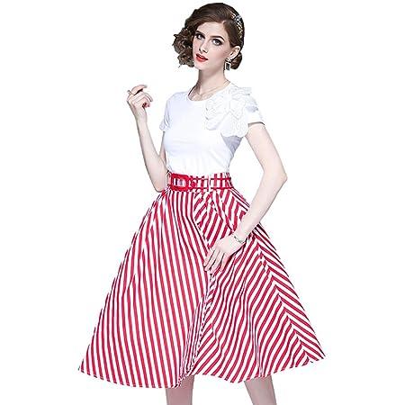 MORDYL Mujer Falda Raya Moda con Top de Camiseta Blanca,L: Amazon ...