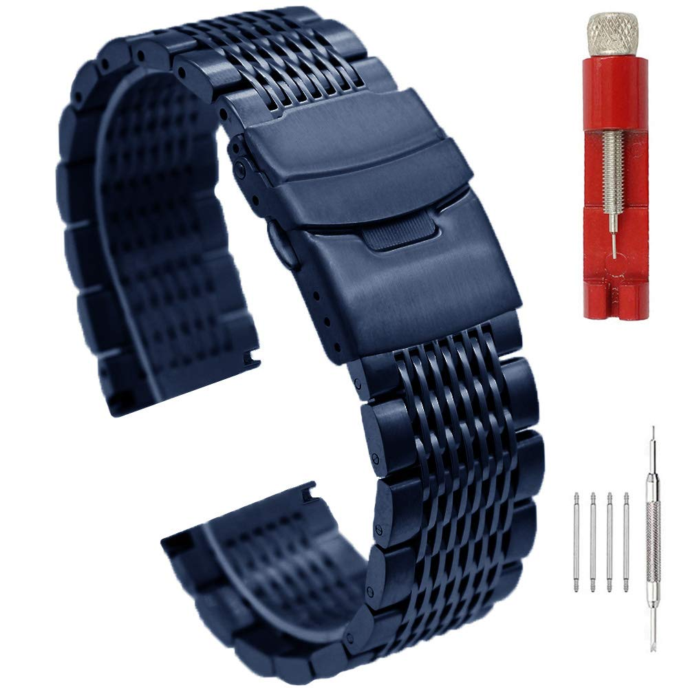 Superior Quality Stainless Steel Mesh Watch Band for Men Women Brushed Middle Polished Metal Watch Strap Bracelet Deployment Clasp 20mm/22mm/24mm-Black/Silver/Gold/Rose Gold (22mm, Blue) by SINAIKE