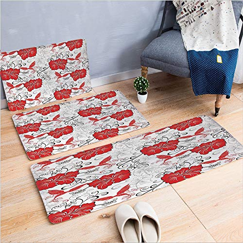 3 Piece Non-Slip Doormat 3D Print for Door mat Living Room Kitchen Absorbent Kitchen mat,Hibiscus and Hummingbirds Ornamental Background,15.7