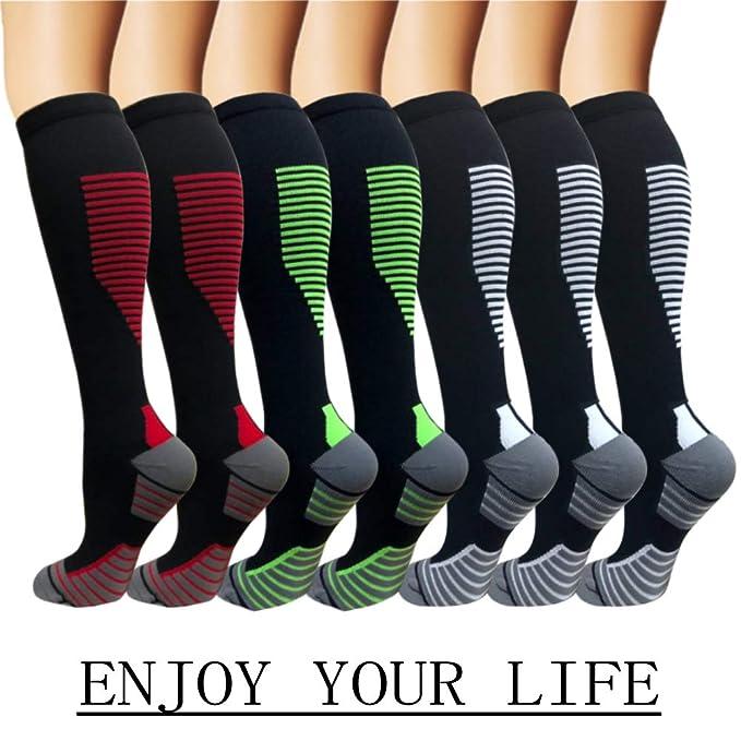 7 Pack Copper Knee High Compression Socks For Men & Women-Best For Running,Athletic,Medical,Pregnancy and Travel -15-20mmHg (S/M, Multicoloured 6) Best Compression Socks