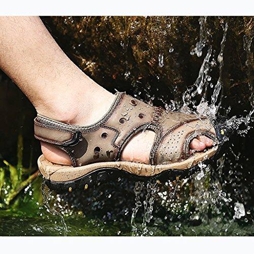 vera Traspirante da Primavera Sandali Pantofole Scarpe all'aperto A spiaggia casual Movimento pelle e piedi estate da a LJYNX antiscivolo uomo utensili da Baotou in w1f688q