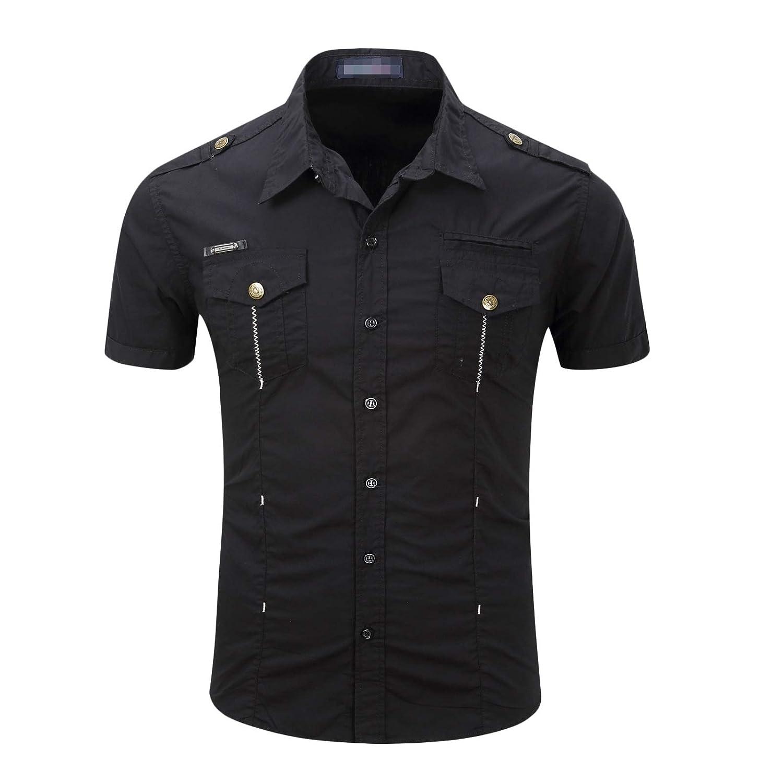 GodeyesMen Short Sleeve Lapel Pocket Plus Size Button Cotton Top Shirt