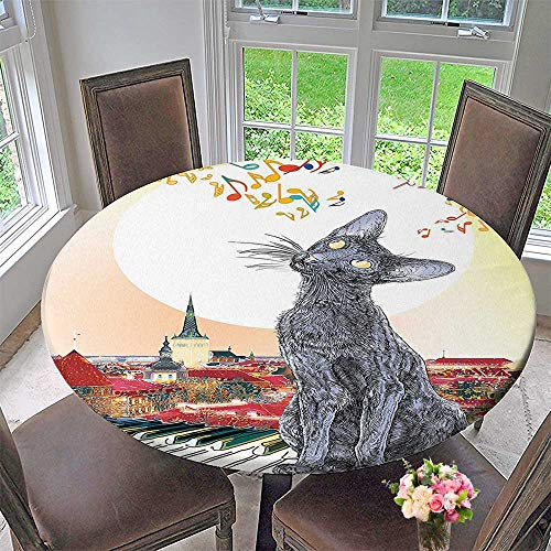 Round Tablecloths Collection City Skyline with Moonlight and Cat Singing on Roof Music Notes and or Everyday Dinner, Parties 31.5