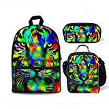 FOR U DESIGNS Camo Tiger Teens Backpack Set Canvas Boys Girls School Bags Bookbags with Lunch Box Pencil Bags