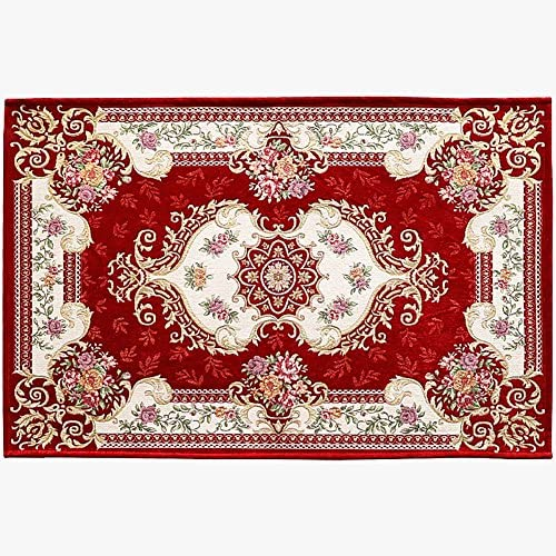 LISIBOOO Oriental Traditional Floral Area Rugs, Thick Soft Non Slip Large Carpet, for Living Room Dining Room Bedroom Sitting Room Entryway Hallway Doorway 6 6 x9 6 , Wine Red
