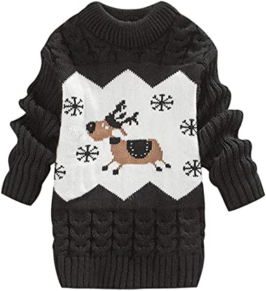 mimixiong Baby Christmas Sweater Toddler Reindeer Outfit Red Clothes 12-18Months,Red-Tops