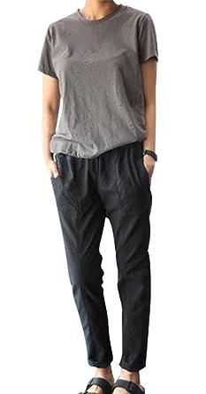 168944b3b7417 Womens Solid Cotton Linen High Waist Pants Summer Elastic Waist Capri Pants  (M