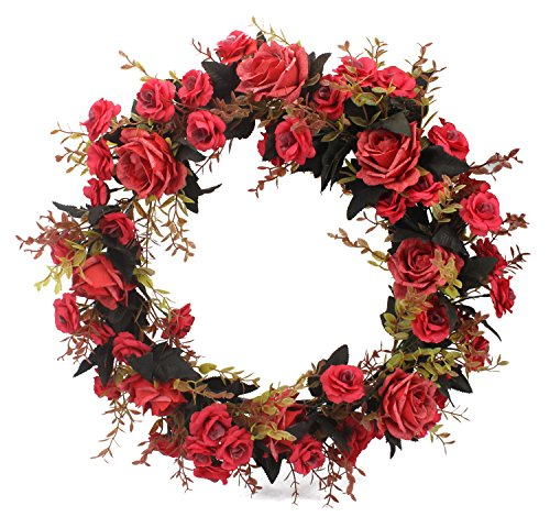 Duovlo Rose Floral Twig Wreath 19 Inch Handmade Artificial Flowers Garland Front Door Wreath (Red) by Duovlo