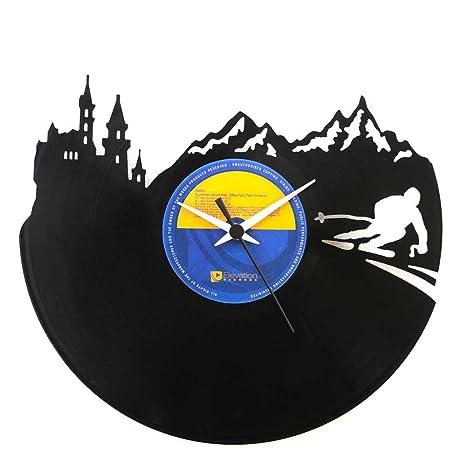 Regalo perfecto para un esquiador, montaña, reloj de vinilo negro, Vinyluse original