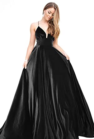 4c33e80cd9f2 OYILAN Women's Long Velvet Prom Dress V-Neck Backless Evening Gown Black 2