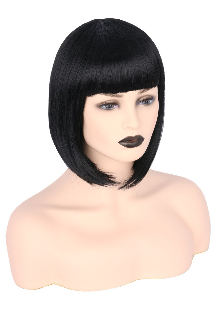 Blunt Bob Blonde Wig with Bangs Halloween Costume Accessory