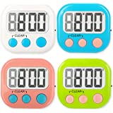 4 Pack Digital Kitchen Timer Strong Magnetic Electronic Countdown and Count Up, Loud Alarm Small Size
