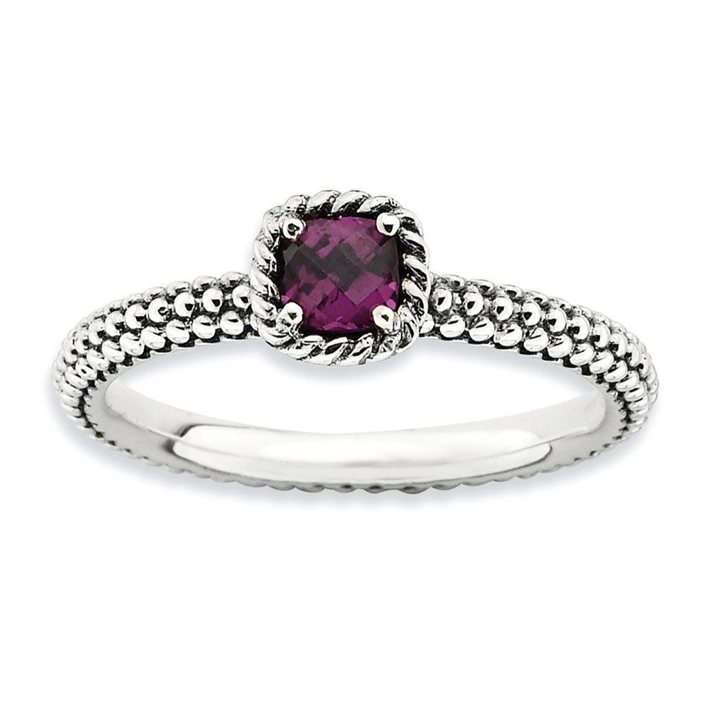 Top 10 Jewelry Gift Sterling Silver Stackable Expressions Checker-cut Rhodolite Garnet Ring